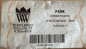 Park entrance ticket at Museum of King Jan III's Palace at Wilanów