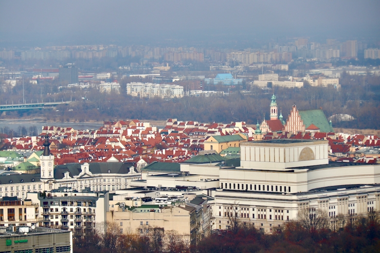 view from the Palace of Culture and Science towards Old Town