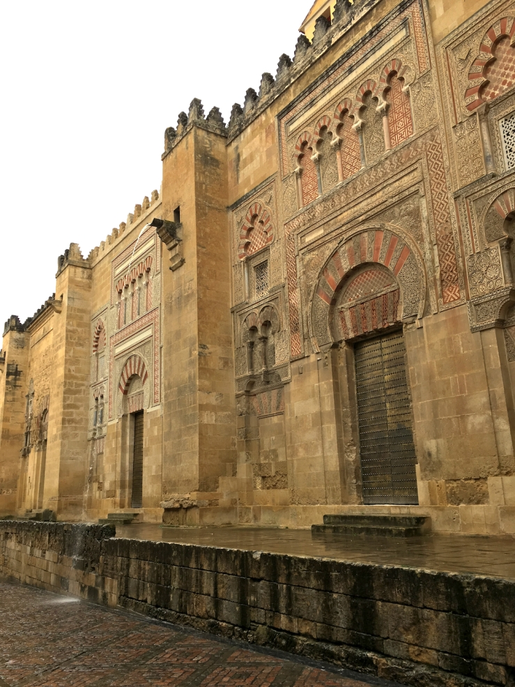 Outside the Mezquita-Catedral with heavy rainfall in April
