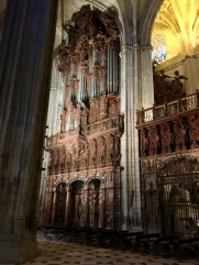 Organ in the Seville cathedral with wood carvings