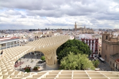 View from the Meridol Parasol towards the Seville Cathedral
