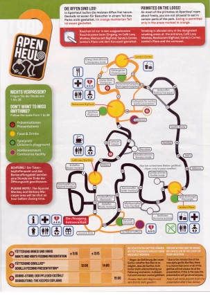Routenplan durch den Park mit Beschreibung der einzelnen Stationen