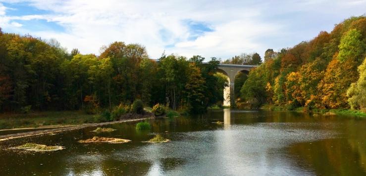 Blick von der Obermühle auf den Neiße-Viadukt