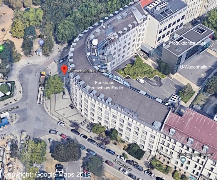 3D-Ansicht des ehemaligen RIAS-Gebäudes, das heute das Funkhaus von DeutschlandRadio ist (Copyright Google Maps 2019)