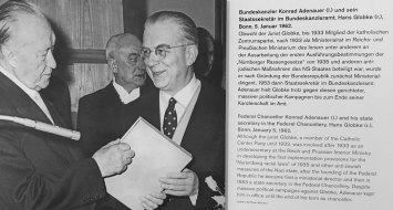 """Jurist Globke war an den Ausarbeitungen der ersten Ausführungsbestimmungen der """"Nürnberger Rassengesetze"""" und anderer anti-jüdischen Maßnahmen des NS-Staates beteiligt."""