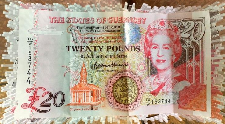 Aktuelle 20 Guernsey-Pfund-Note aus dem Jahr 2019